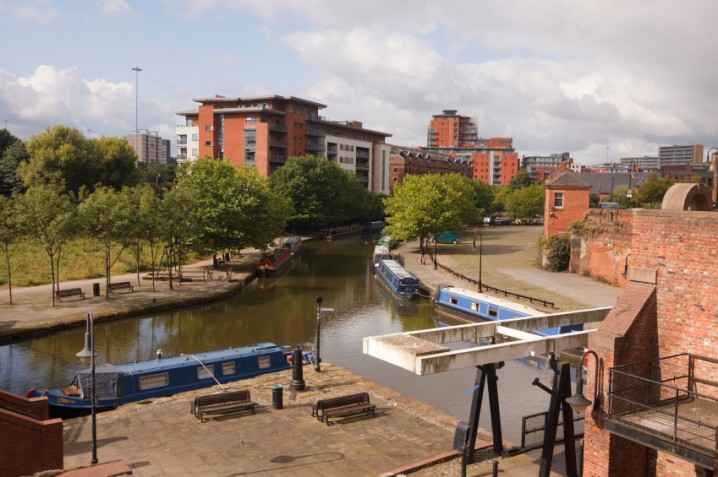 Canal and barges in the Castlefield area of Manchester