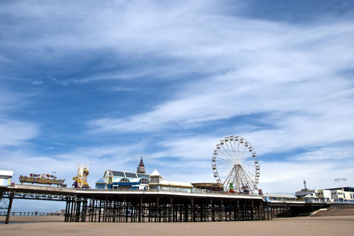View of the Central Pier at Blackpool with ferris wheel