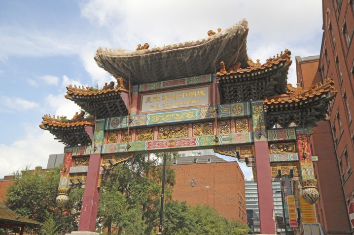 The Chinese Arch on Faulkner Street in Chinatown, Manchester city centre