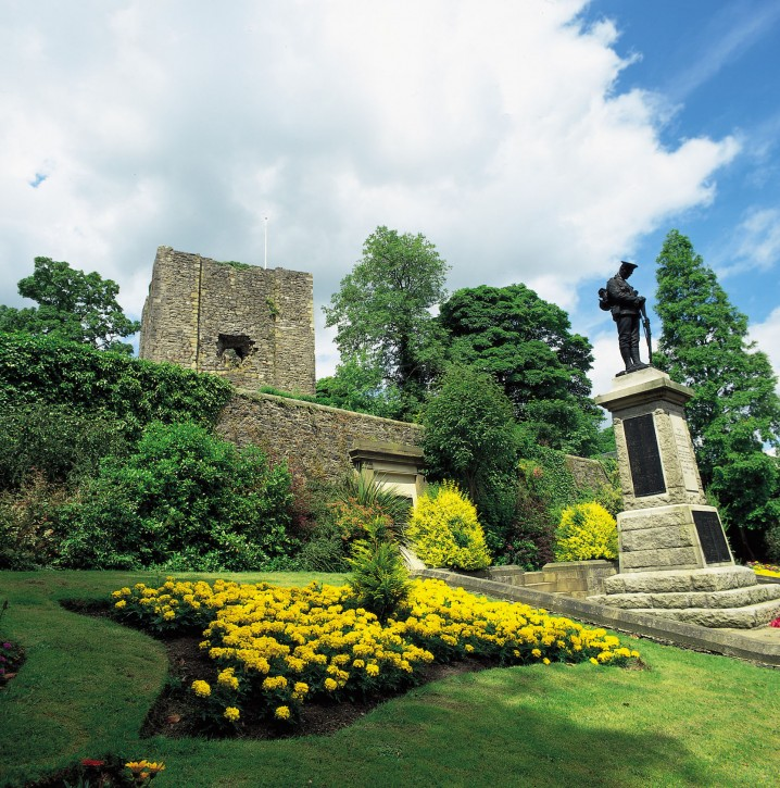 View of Clitheroe Castle, the gardens, and war memorial