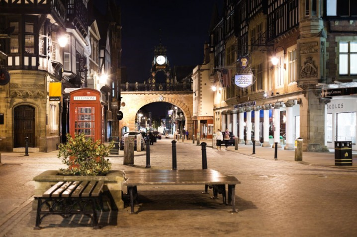 Eastgate in Chester with the Eastgate Arch and Clock
