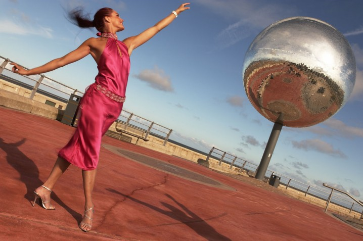 The large mirror ball at the Great Promenade Show on Blackpool Promenade
