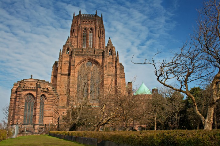 Exterior view of Liverpool Cathedral, an Anglican cathedral in Liverpool city centre