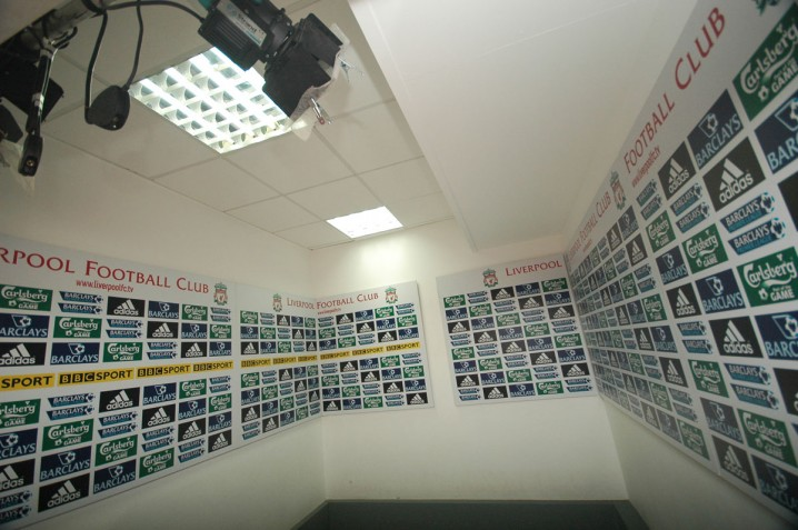 Press interview area at Anfield stadium, Liverpool