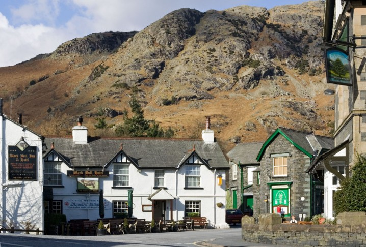 View of the Old Man of Coniston from the village