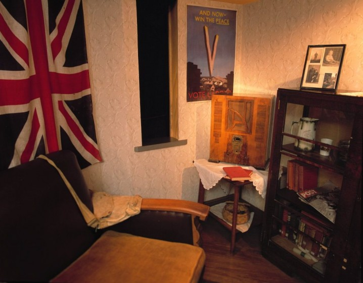1940s living room exhibit at the People's History Museum in Manchester, England