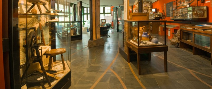 Exhibits on display in the Ruskin Museum, Coniston