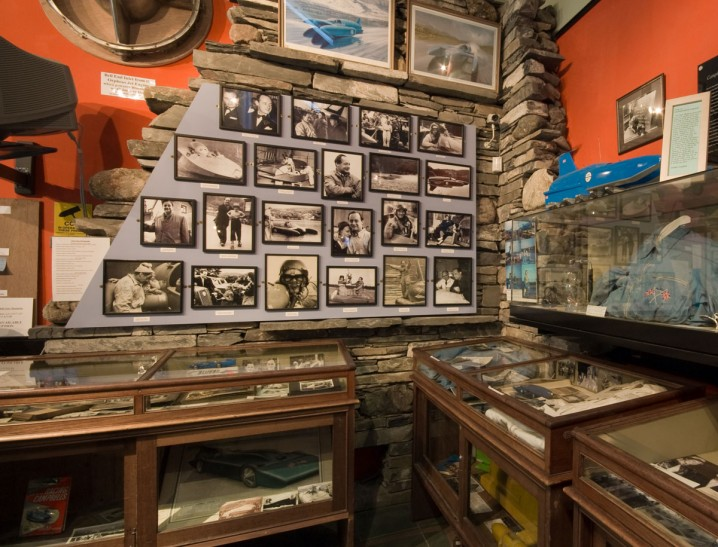 Exhibits relating to Donald Campbell and the Bluebird at the Ruskin Museum, Coniston