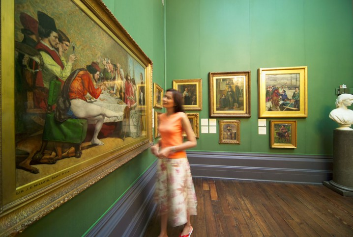 Woman looking at a painting in the Walker Art Gallery, Liverpool